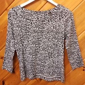 Leopard Print Cotton Top 3/4 Sleeve Rafaella Med
